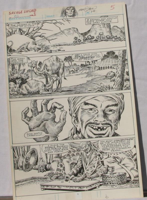 ERNIE CHAN Published Original Art SAVAGE SWORD of CONAN #152,pg 5, Signed w/art