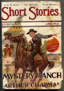 Short Stories Pulp April 1921- Mystery Ranch - Sax Rohmer Bat Wing
