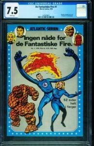 De Fantastiske Fire #1 CGC 7.5 Fantastic Four #1-Norwegian ed 1475029011