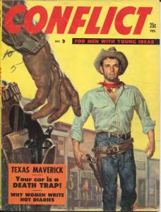 Conflict #7 2/1956-George Gross gunfight cover-cheesecake-pulp thrills-VG