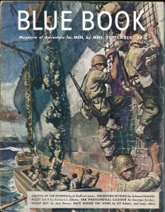 BLUE BOOK PULP-SEPT 1945-VG/FN-STOOPS COVER-BEDFORD-JONES-SURDEZ-JOEL  VG/FN