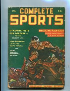 COMPLETE SPORTS PULP-JAN-1942-FOOTBALL-BOXING-RED CIRCL G