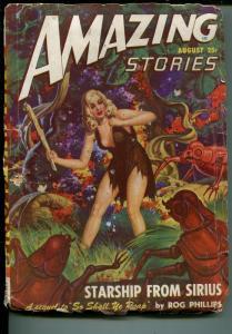 Amazing Stories 8/1948-Ziff-Davis-pulp sci-fi-Good Girl Art-Robert G. Jones-P