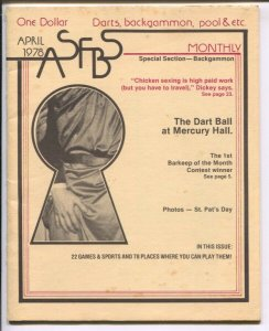 About San Francisco Bar Sports #1 4/1978-1st issue-darts-backgammon-events-lo...