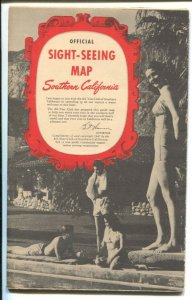 Official Sight-Seeing Map Southern CA 1947-lists of attractions-unique post WWII