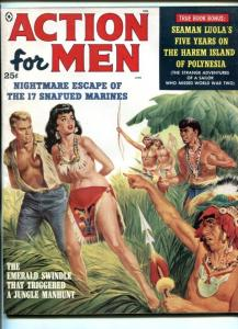 ACTION FOR MEN-JUNE 1959-CAPTURED NATIVE GIRL-NAZI SPY RING-CHEESECAKE-vf-