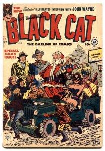 Black Cat #27 1957- Santa Claus Christmas cover- John Wayne FN