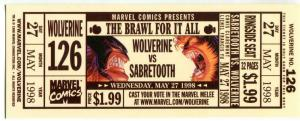 WOLVERINE vs SABRETOOTH Promo Ticket, NM, 1998, Brawl for it All, #126, Marvel