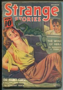 Strange Stories 12/1940-chained woman-snakes-horror-pulp-Daniels-FN