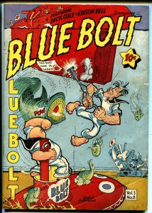 Blue Bolt Vol. 3 #8 1943-shark cover-Sub-zero-Sgt Spook-WWII era-Phantom Sub-VG
