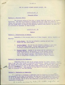 BY-LAWS of the Los Angeles Science Fantasy Society, Inc. - Scarce document!