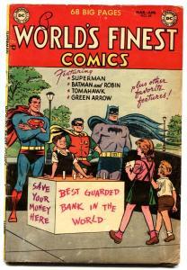 World's Finest #69-1954-Batman Superman Green Arrow Tomahawk DC golden age