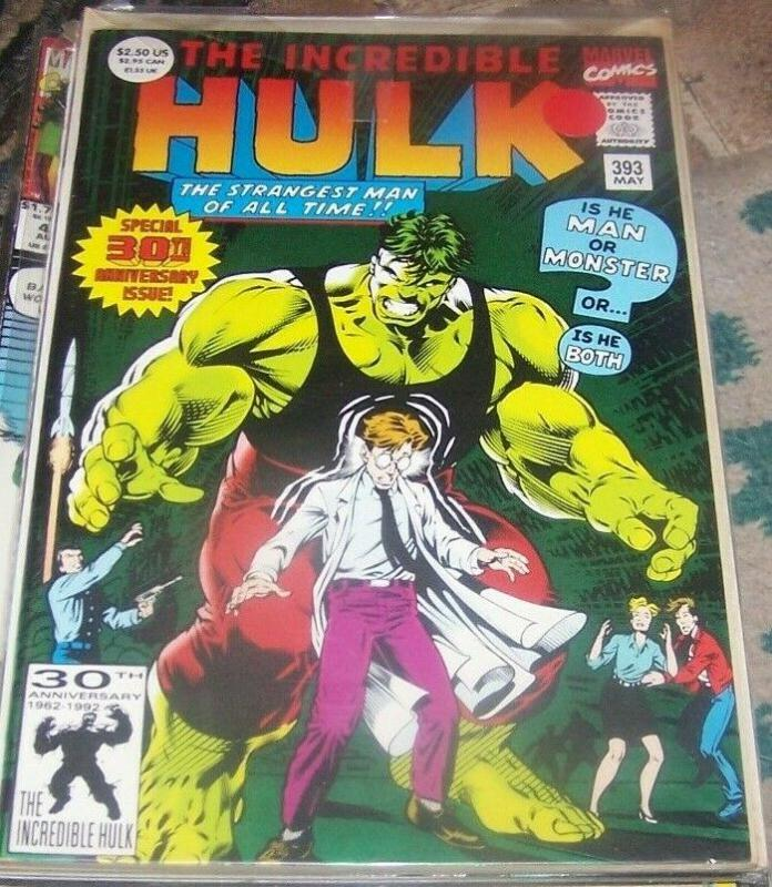 Incredible Hulk  # 393  MAY 1992 Marvel 30TH ANNIVERSARY GREEN FOIL COVER