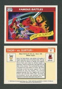 1990 Marvel Comics Card  #91 ( Thor vs Surtur) NM-MT+