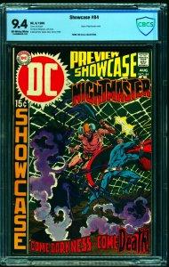Showcase #84 CBCS NM 9.4 Off White to White Nightmaster! DC Comics
