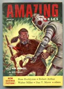 Amazing Stories March 1954- Call Him Savage- Robot cover