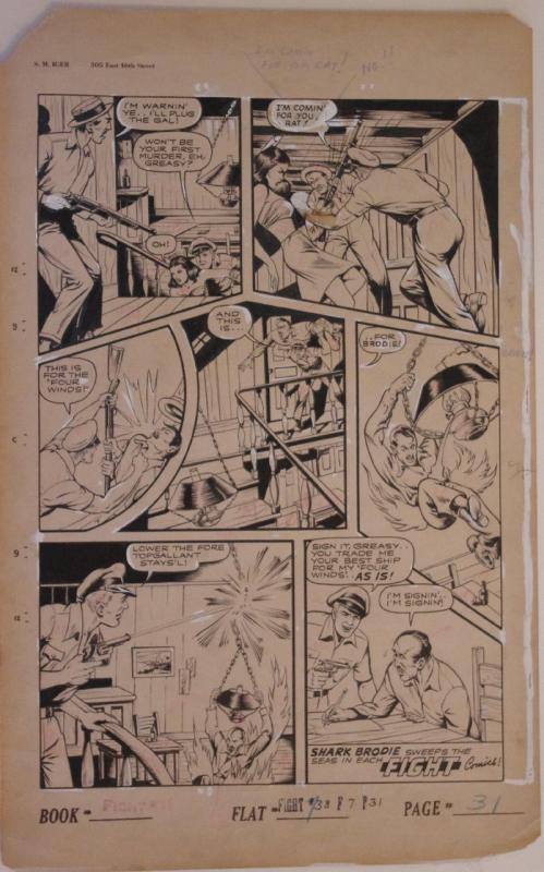 ALEX BLUM original art, FIGHT COMICS #38 pg 31, 1945, Shark Brodie, Fight, Ships