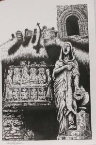 DOUG SIROIS original published art, BANSHEE'S CRY splash page 9, 12 x 18, 2011