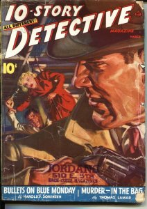 10-STORY DETECTIVE--MAR 1941--SPICY NORMAN SAUNDERS COVER--CRIME & MYSTERY PULP