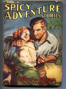 Spicy Adventure Stories April 1939-Wild bondage cover-Pulp Mag