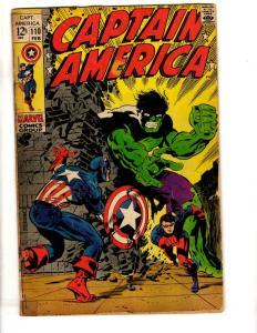 Captain America # 110 VG Marvel Comic Book Avengers Hulk Thor Red Skull RH1