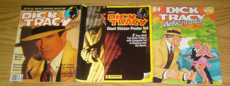 Dick Tracy collection - adventures magazine- sticker-poster set - movie souvenir