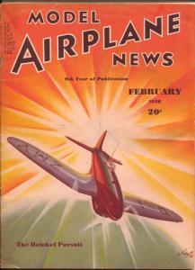 Model Airplane News 2/1938-Heinkel Pursuit plane cover-Josef Kotula-FN