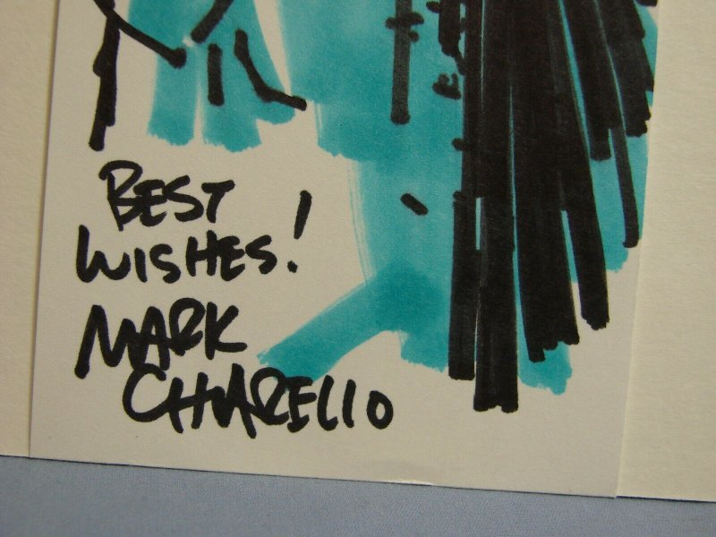 STAR WARS MARK CHORELLO ARTIST SKETCH W/ AUTOGRAPH BOBA FETT THE MANDALORIAN