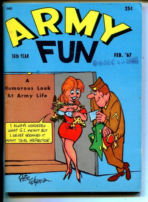 Army Fun 2/1967-Crestwood-military-spicy cartoons-jokes-comics-Wyma-VG/FN