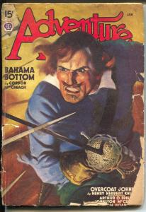 Adventure 1/1939-sword fight cover-W F Soares-Johnston McCulley-pulp stories-G