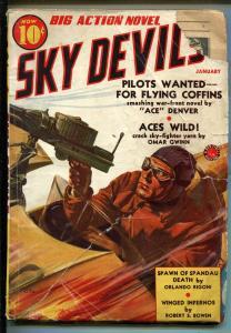 SKY DEVILS 01/1939-RED CIRCLE-TIMELY-PULP-4TH ISSUE-MACHINE GUN-AIR WAR-good
