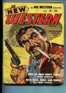 NEW WESTERN-NOV 1948-VIOLENT PULP FICTION-BANDITO COVER-PETER DAWSON-vg