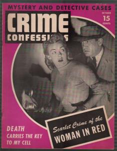 Crime Confessions 10/1943-Woman In Red -WWII era-lurid-violent pulp-VF-