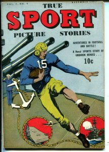 True Sport Picture stories Vol. 2 #4 1943-WWII_Football-Hockey-FN+