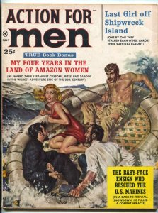 Action For Men Magazine July 1960- Amazon Women- lifeboat cover