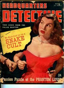 Headquarters Detective 3/1948-snake cult-gun moll cover-crime stories & pix-G
