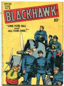 BLACKHAWK #18 1948- Golden Age comic- missing centerfold