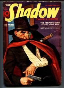SHADOW 1937 Oct 15 -Violent cover- STREET AND SMITH-RARE PULP vg-