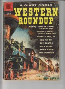 Western Roundup #25 VG dell giant - roy rogers - buffalo bill - rin tin tin 1959
