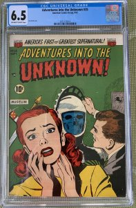 Adventures into the Unknown #35 (1952) CGC 6.5 -- Ken Bald skull cover; American