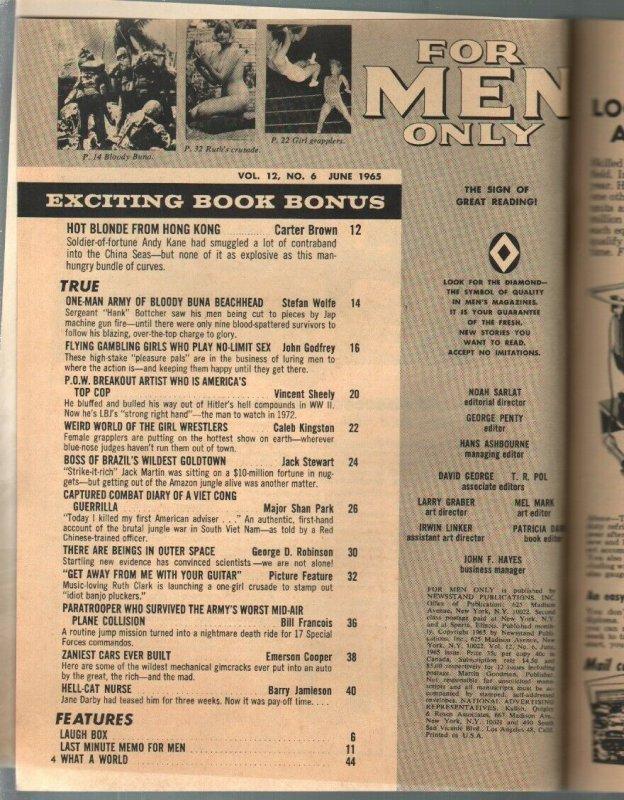 For Men Only 6/1965 Atlas-Mort Kunstler cover-Earl Norem-Craig Breedlove-FN