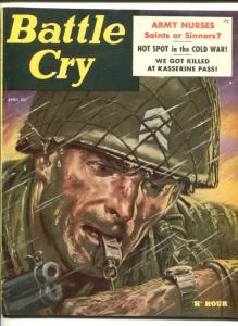 BATTLE CRY- APR 1956-STANLEY PUBS-DOORE COVER-CHEESECAKE-ARMY NURSES-fn