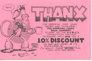 American Comic Book Co. Scott Shaw Thanx Postcard