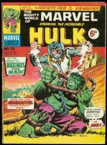 MIGHTY WORLD OF MARVEL #74 1974-HULK COVER-BRITISH VG