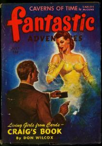 Fantastic Adventures Pulp July 1943- Craigs Book- Don Wilcox- Spicy cover VG+