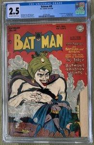 Batman #49 (1948) CGC 2.5 -- 1st Mad Hatter & Vicki Vale; Joker cover and app.
