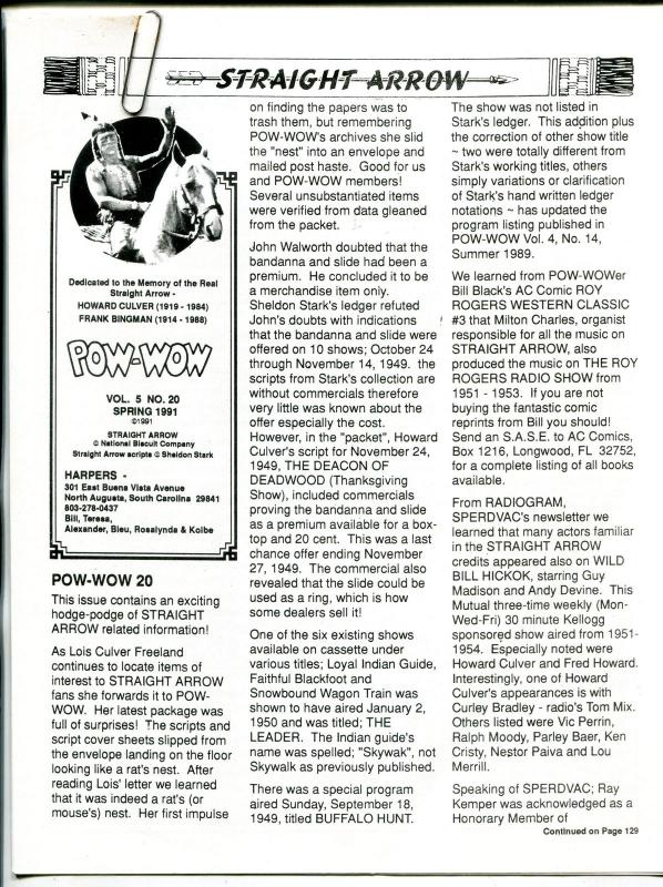 Straight Arrow Pow-Wow Vol. 5 #20 1991- Western fanzine newsletter