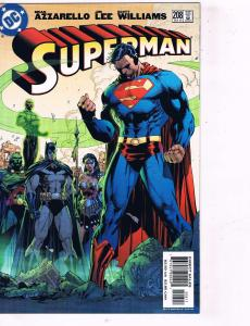 Superman # 208 NM 1st Print DC Comic Book Jim Lee Wonder Woman Batman Flash J97