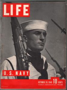 Life 10/28/1940-U.S. Navy issue-pre WWII-Lana Turner-military pix & info-VG+
