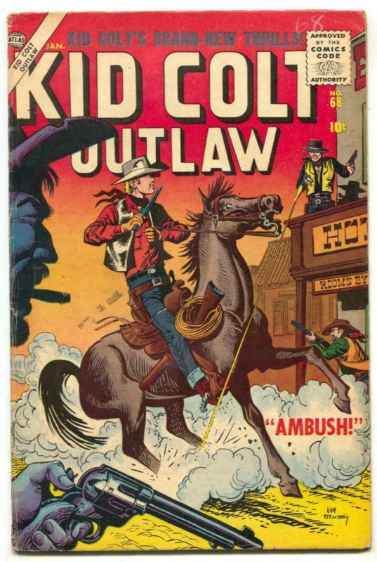 Kid Colt Outlaw #68 1957- Maneely cover- Atlas Western FN